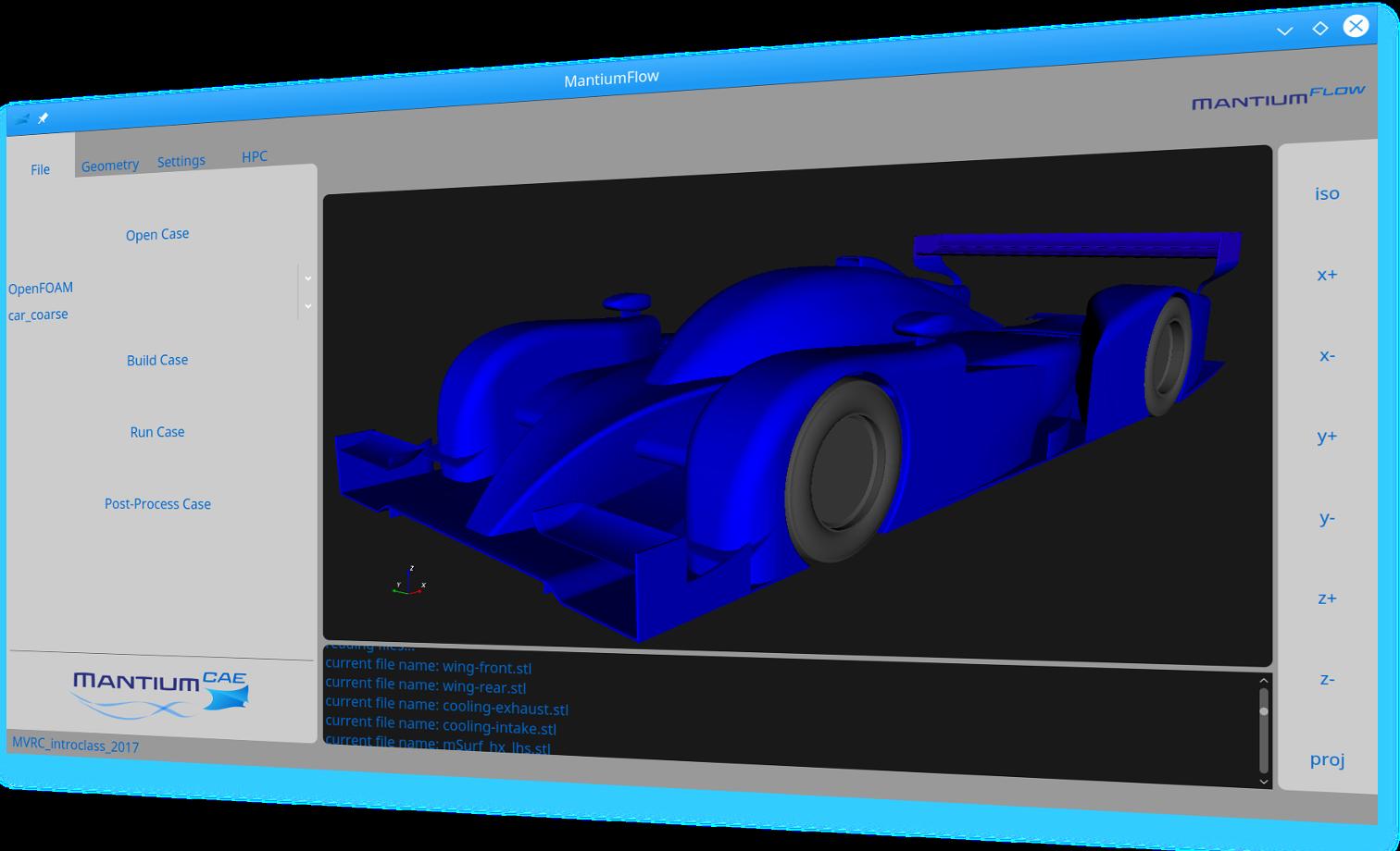 Screenshot of MantiumFlow, preparing an OpenFOAM simulation
