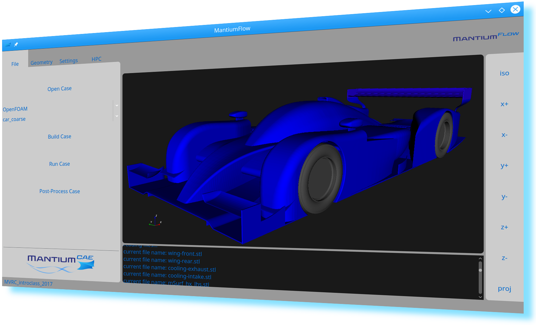 Screenshot of MantiumFlow, acting as OpenFOAM GUI