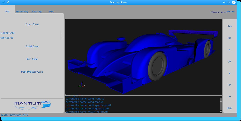 MantiumFlow CFD Simulation Software GUI