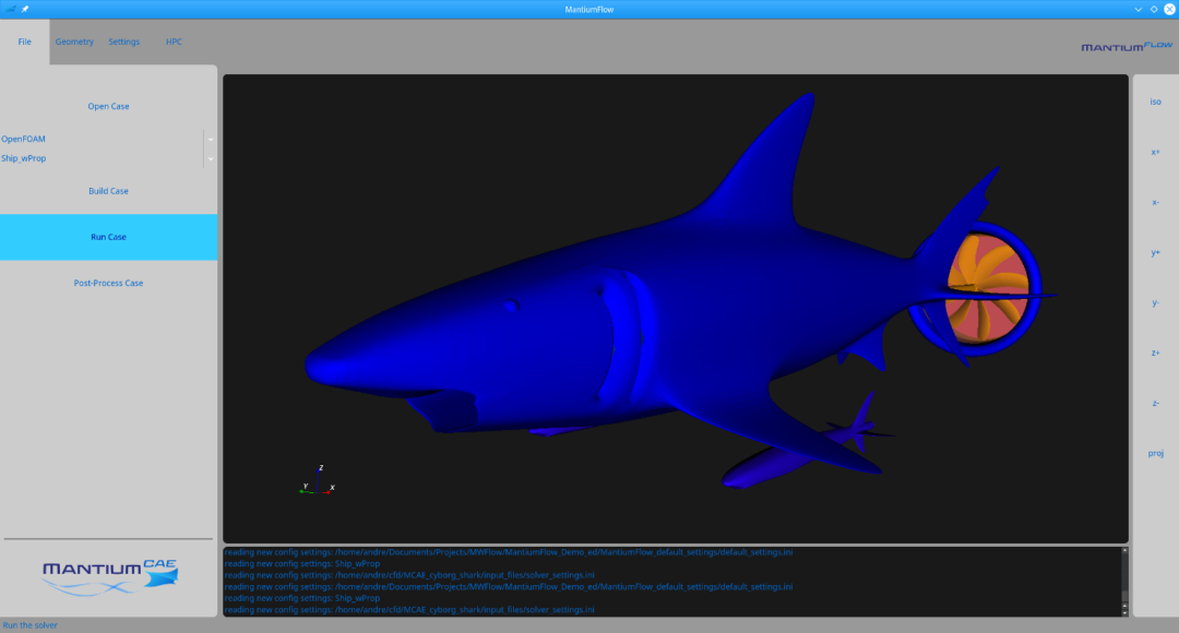 Execute CFD tutorial simulation of shark.