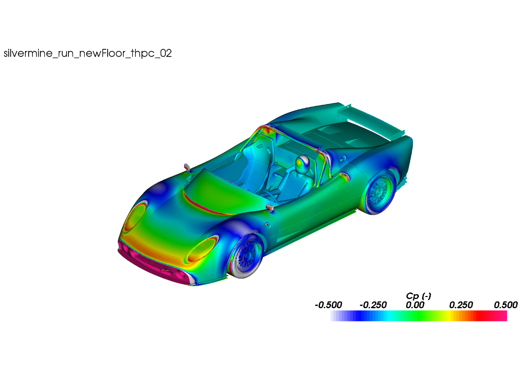 CFD Simulation Car Silvermine Cp Surface