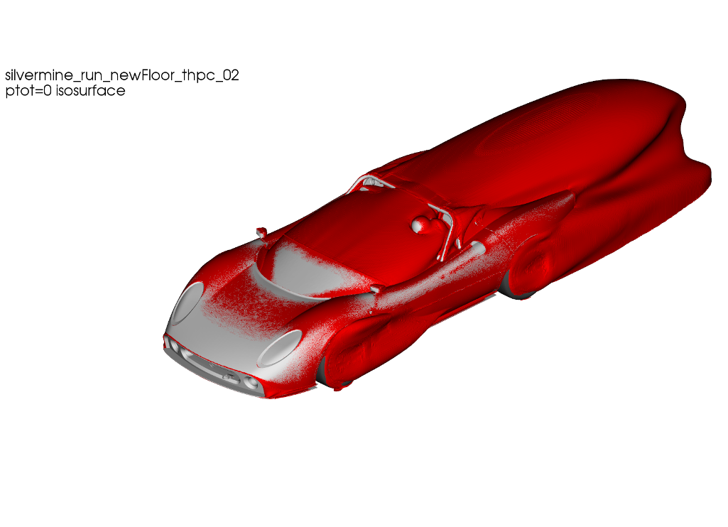 CFD Simulation Car Silvermine IsoSurfce Ptot