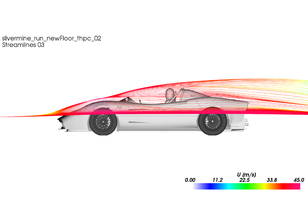 CFD Simulation Car Silvermine Streamlines Side